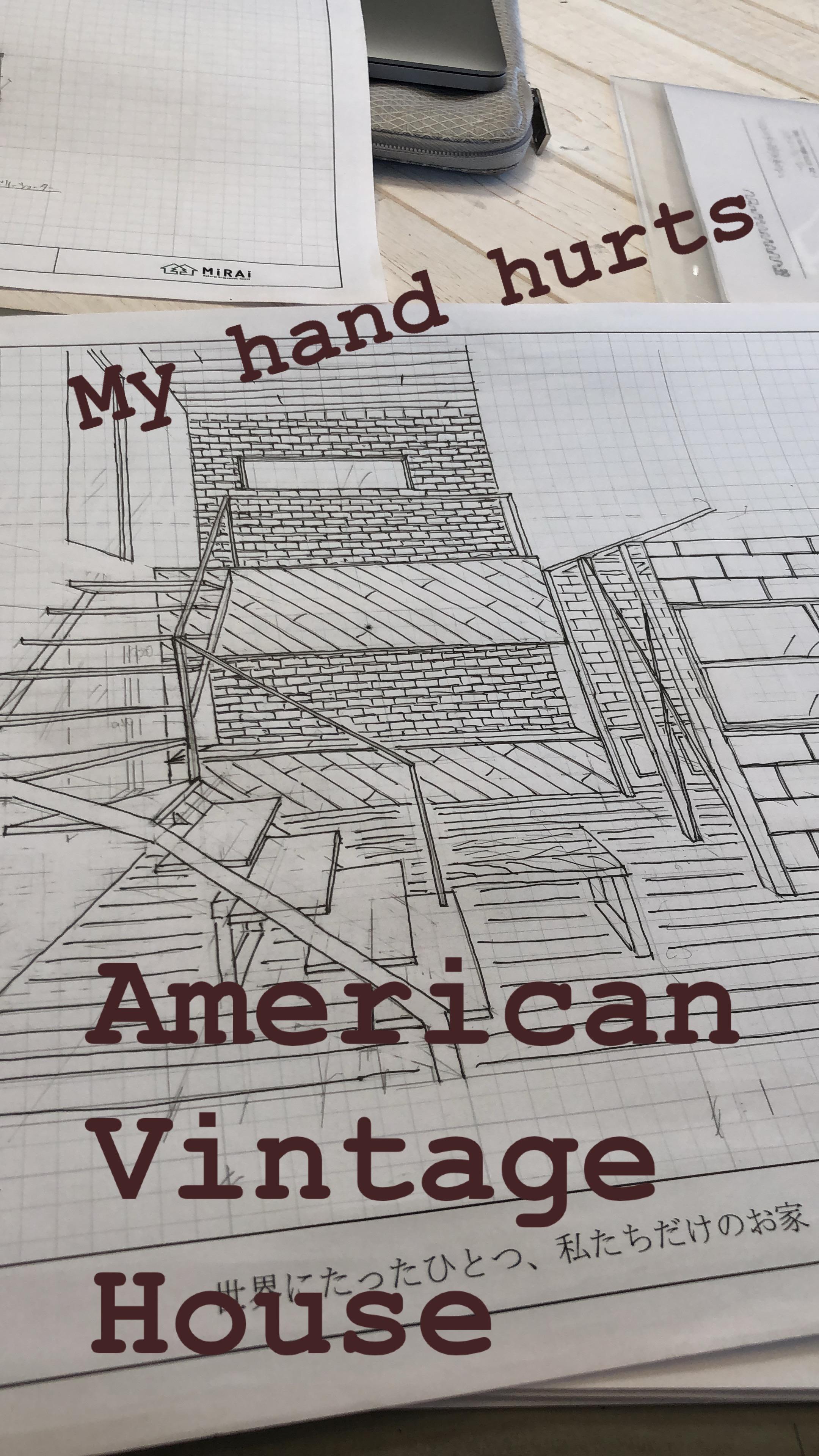 山梨県の工務店、未来建築工房のややイケメン作。アメリカンヴィンテージハウスのスケッチパース。