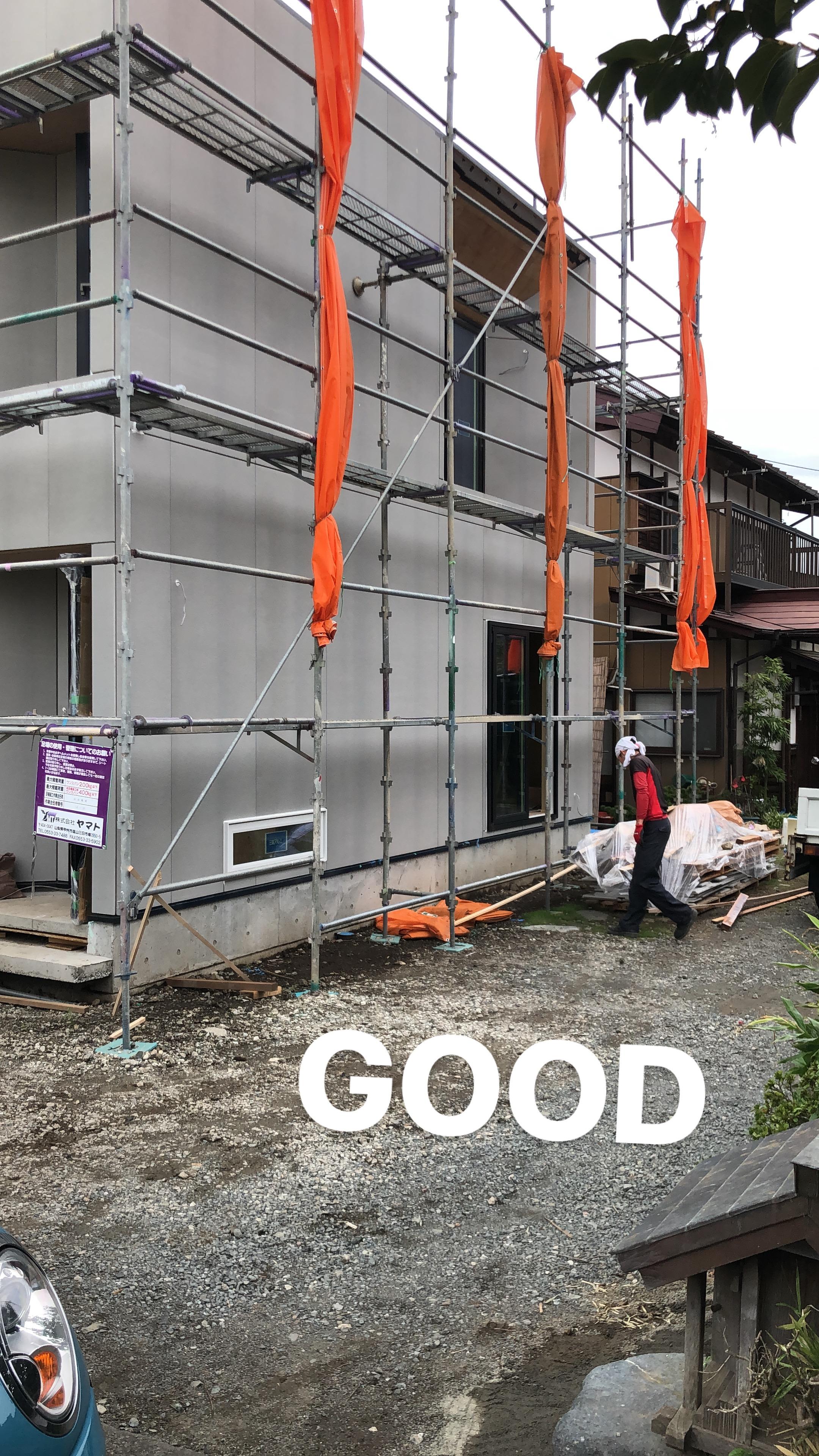 山梨の工務店、未来建築工房の注文住宅。都留市の家の外観。これから仕上げ工事です。