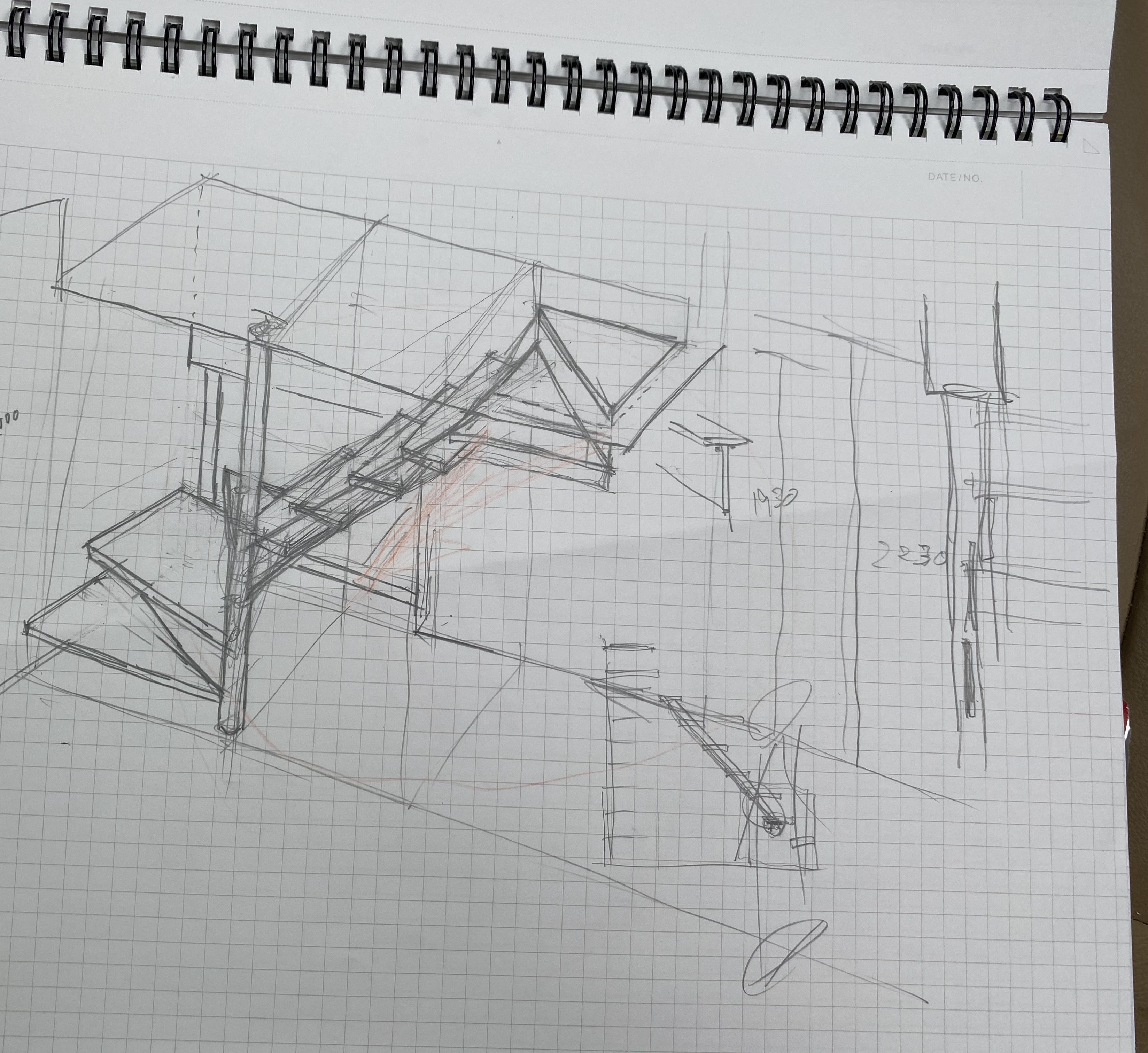 山梨県の工務店、未来建築工房とつくる注文住宅。|階段スケッチ