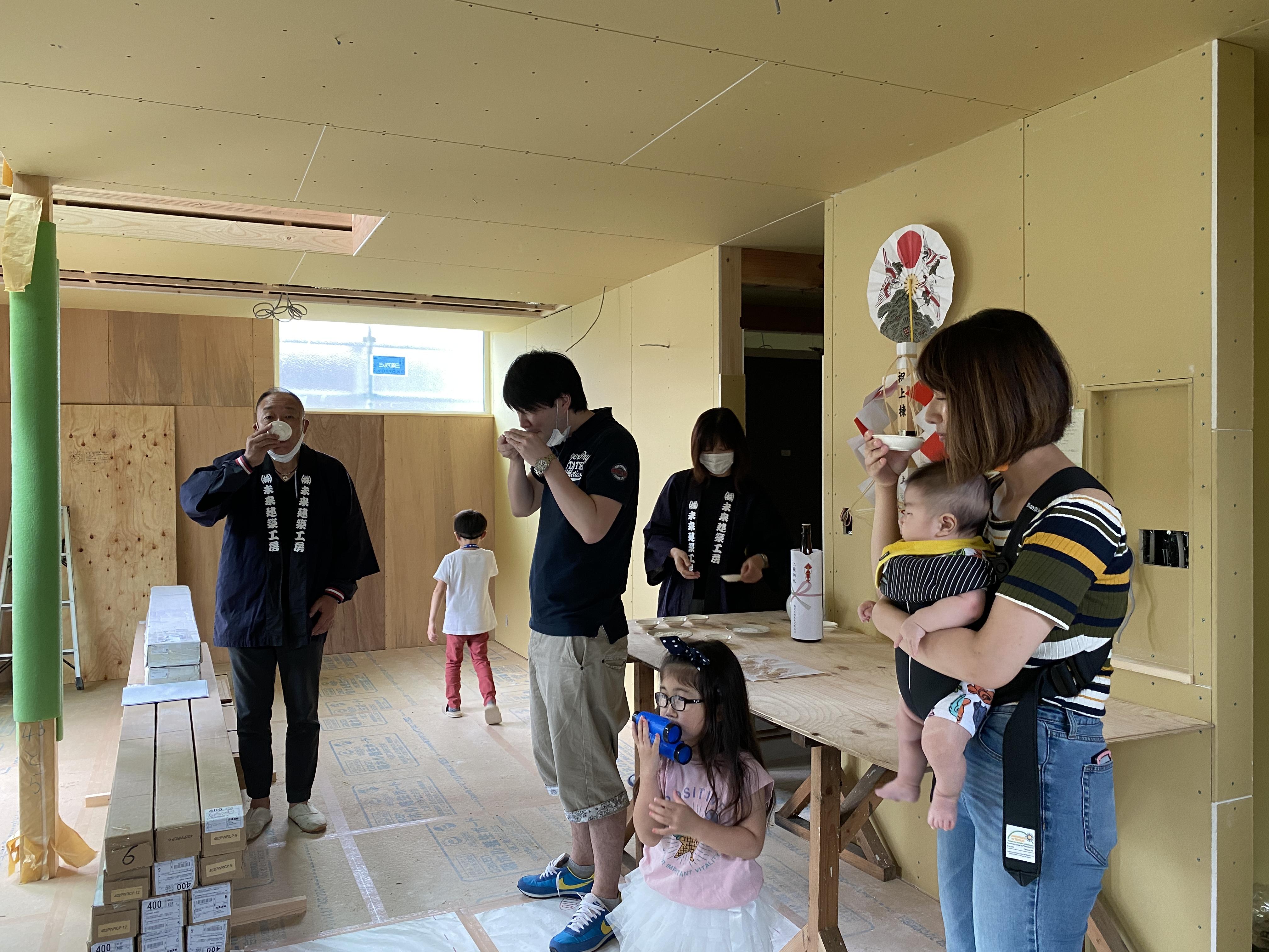 山梨県の工務店、未来建築工房とつくる注文住宅。 富士吉田市 男前なホテルライクスタイルの家、上棟式。